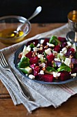 Beetroot, pear and Feta cheese salad on a plate for lunch