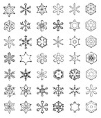 Snowflake patterns, 19th century