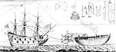 Jonathan Hulls' steam tug towing a warship, illustration