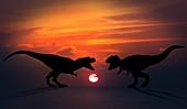 Tyrannosaurus dinosaurs fighting