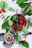Vintage bucket of fresh red cherries with leaves