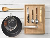 Kitchen utensils for making mushrooms in cream sauce