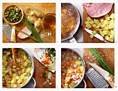 Kartoffel-Gemüse-Suppe mit Kassler und Meerrettich zubereiten