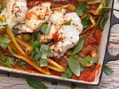 Monkfish on stewed peppers