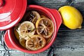 Lemon confit in bowl