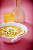 Pumpkin soup with star pasta