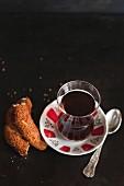 Traditional Turkish tea and simit bread