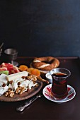 Turkish tea and selection of food for breakfast