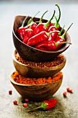 Chilipulver, Chiliflocken und frische rote Chilischoten in Schälchen übereinander gestapelt