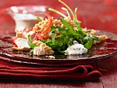 Lukewarm chicken and noodle salad with ricotta cheese and rocket