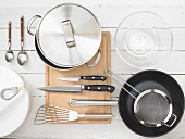 Assorted kitchen utensils for preparing salad