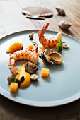 Wild prawns with pumpkin and mushrooms served at the 'Jellyfish' restaurant in Hamburg, Germany