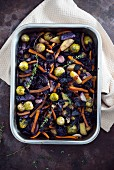 Oven cooked vegetables with carrots and mushrooms