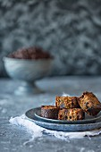 A few pieces of coffee cake with raisins