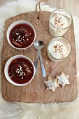 Plum compote with cinnamon quark for Christmas