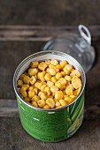 An open can of sweetcorn