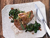 Veal slices with sage and lemon sauce