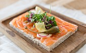 Smoked salmon open sandwich