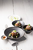 Meatballs in teriyaki sauce with spring onions