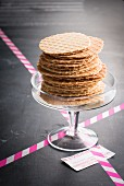 Stroop waffles (syrup waffles) in a glass bowl