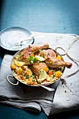 Paella with pumpkin and chicken