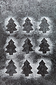 Icing sugar outlines of christmas tree shaped biscuits on a Grey slate surface