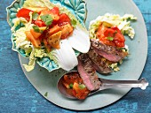 A spicy steak salad with Chinese cabbage and papaya