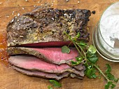 Roast beef with almond remoulade and watercress