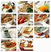 Vegetarische Lasagne mit Seitan und Spinat zubereiten