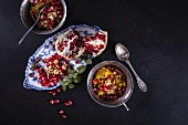Couscous with crunchy nuts and pomegranate