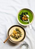 Pastinakensuppe mit Haselnuss-Petersilien-Gremolata und Pastinakenchips und Pastinaken-Brokkoli-Suppe mit Grünkohl und Croutons