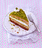 A slice of pistachio cake