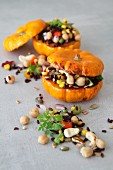 Vegetarian stuffed mini roasted pumpkins