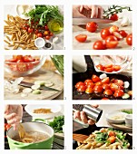 How to make penne with rocket, cherry tomatoes and garlic
