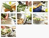Linguine mit Bohnen, Pesto und Pinienkernen