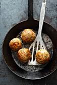 Fried rye bread dumplings in the pan