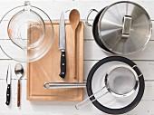Kitchen utensils for making orecchiette with lamb meatballs