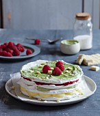 Matcha pavlova with raspberries and white chocolate