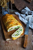 Ham and broccoli strudel
