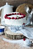 Quark mousse cake with raspberries