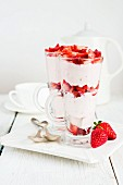 Strawberry and quark dessert in glasses