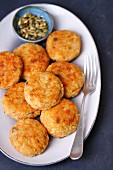 Rice and carrot fritters with cheese and pumpkin seeds