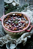 Cherries baked in filo pastry