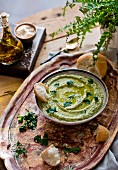 Houmous with parsley