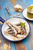 Fried sardines with pesto