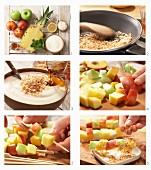 Obstspieße mit Kokos-Joghurt zubereiten