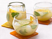 Ginger, lemon and orange drinks with mint