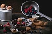 Chocolate mixture for making chocolate truffles and homemade chocolate truffles with fresh berries