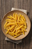 Penne rigate on a plate