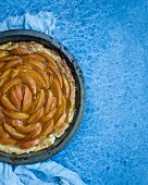 Apricot pie in a baking tin